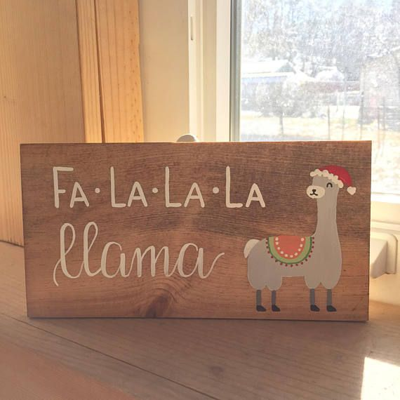 Wooden Llama Sign