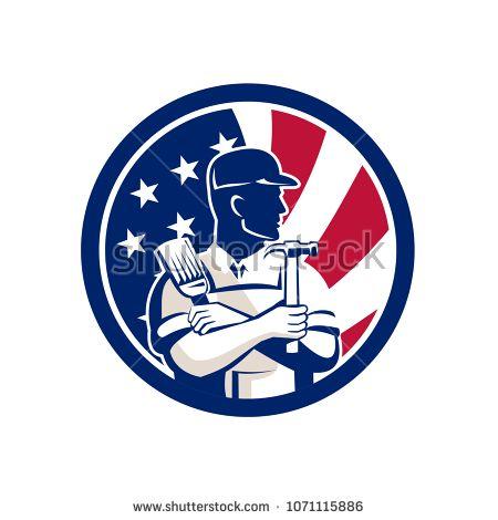 Icon retro style illustration of an American DIY Expert, handyman