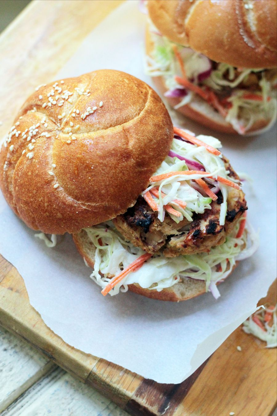 Grilled tuna burgers with wasabi slaw recipe tuna
