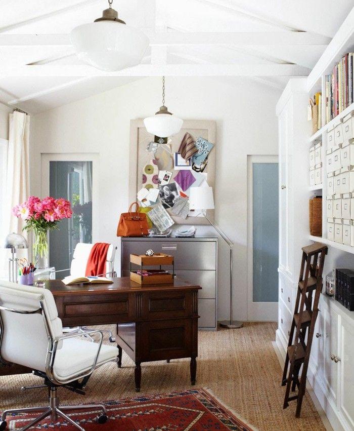 wohnzimmer einrichtungsideen homeoffice blumendeko bibliothek - wohnzimmer ideen gardinen
