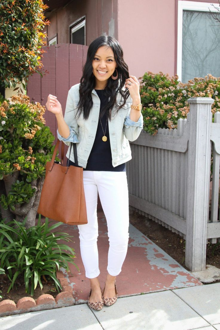 Five Outfits With a Navy Sweater for Spring Weather #leopardshoesoutfit Denim Jacket over Navy Sweater with White pants and Leopard Shoes Outfit | Putting Me Together #leopardshoesoutfit