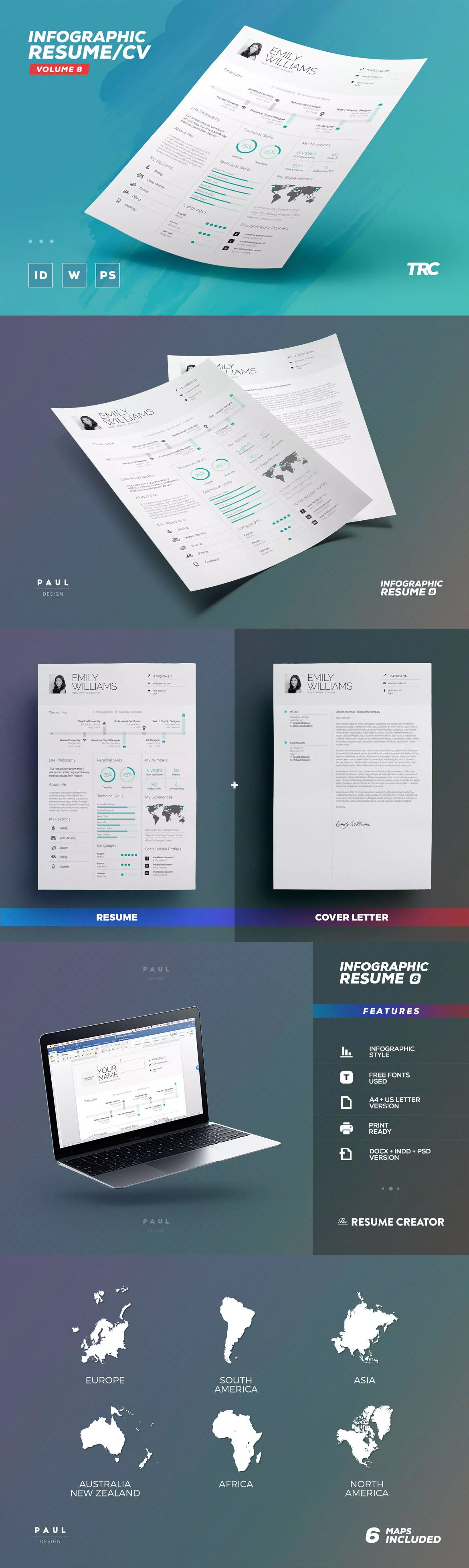 Resume Template Indesign Infographic Resume  Cv Template Indd Psd  A4 And Us Letter Size