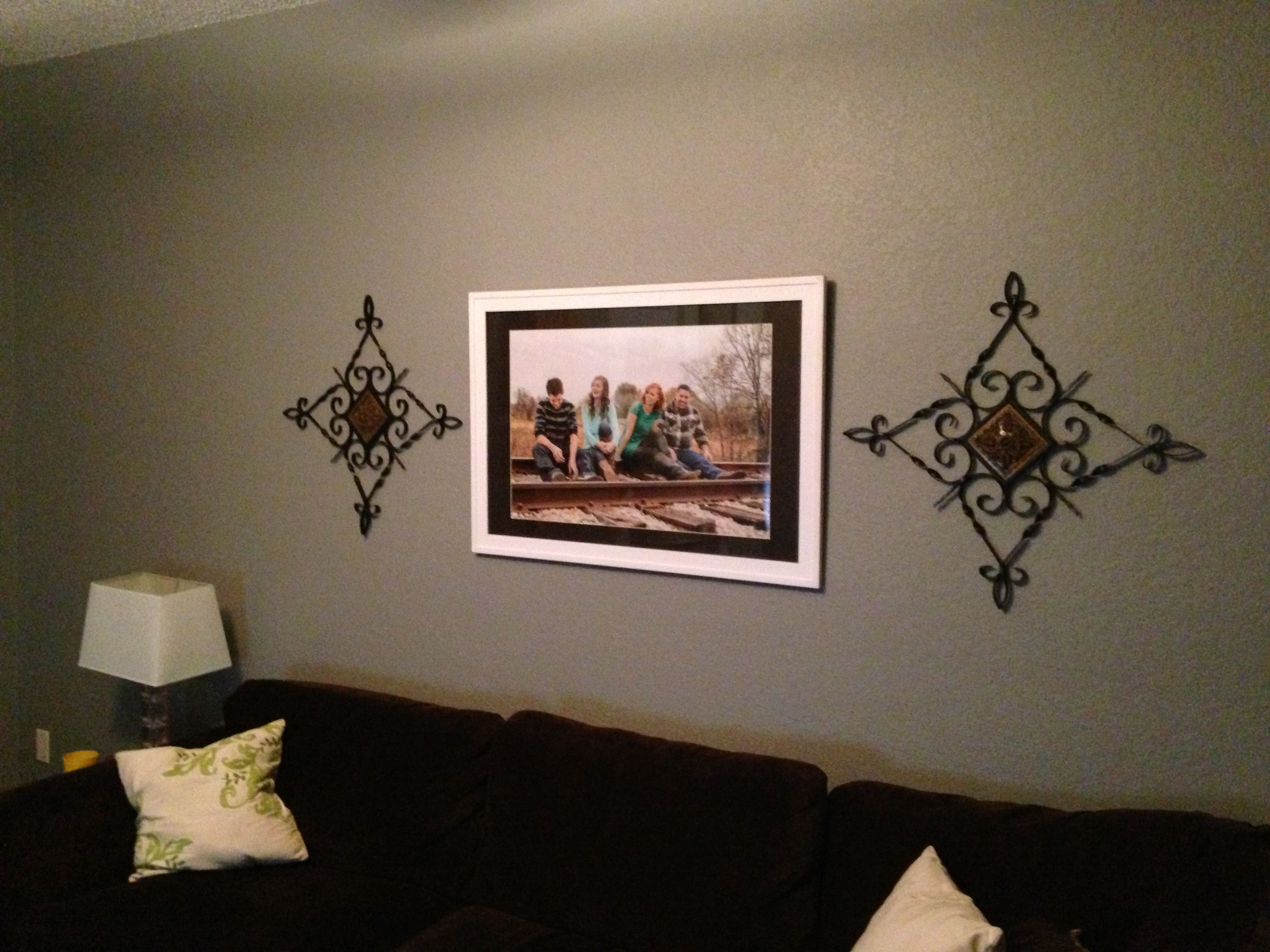 20x30 photo from walgreens in a 24x36 frame over couch
