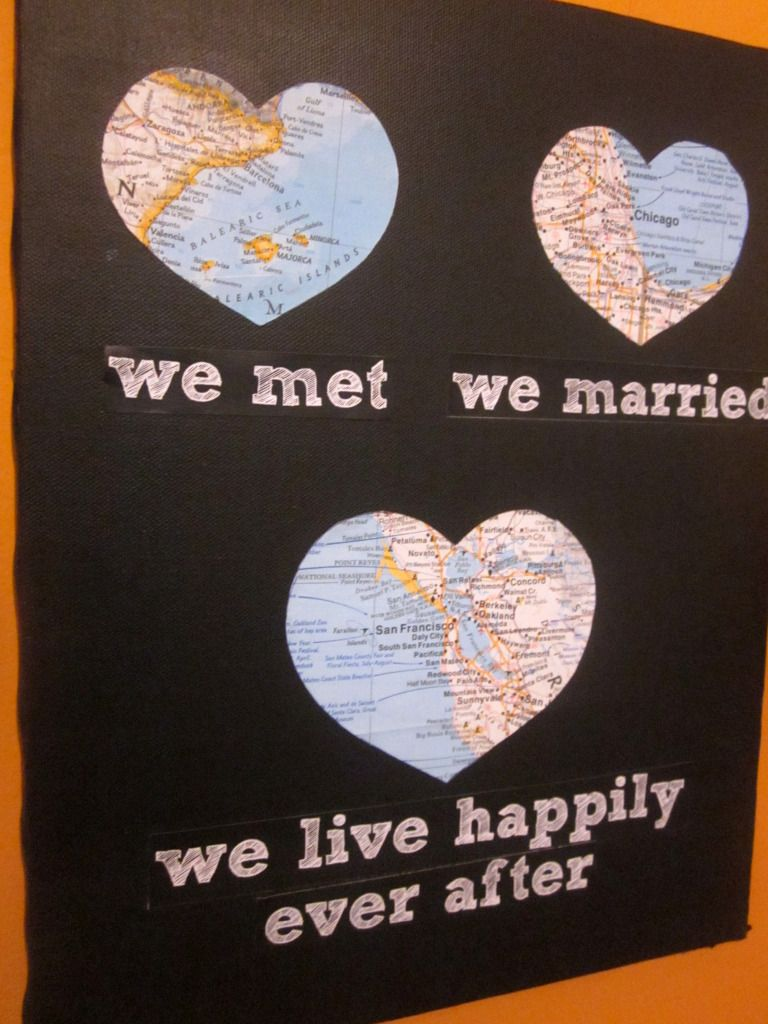 love this idea... i would change it up. We met, got engaged, married, lived happily ever after.