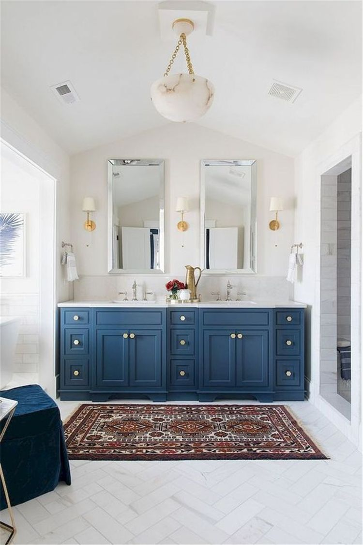 55 Blue Color Remodelling Your Small Bathroom Blue Bathroom Vanity Bathrooms Remodel Small Bathroom
