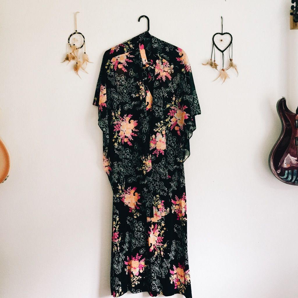 S vintage floral maxi dress u poncho set floral maxi dress