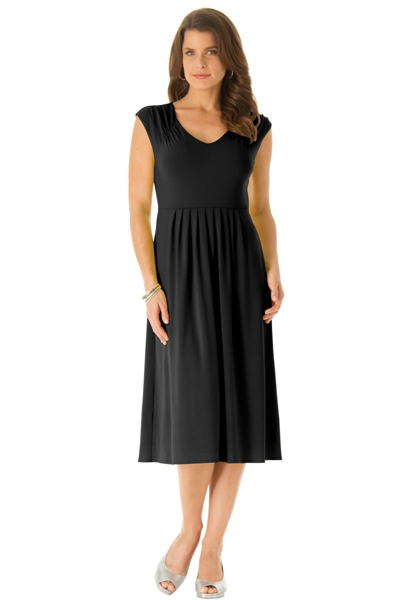 Fit flare dress plus size business meeting roamans