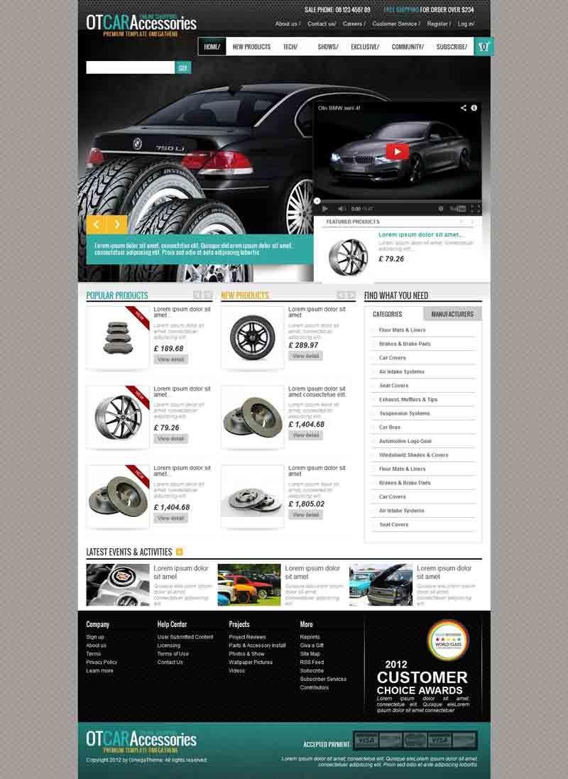 OT Car Accessories - Premium PrestaShop Theme for Spare Parts ...