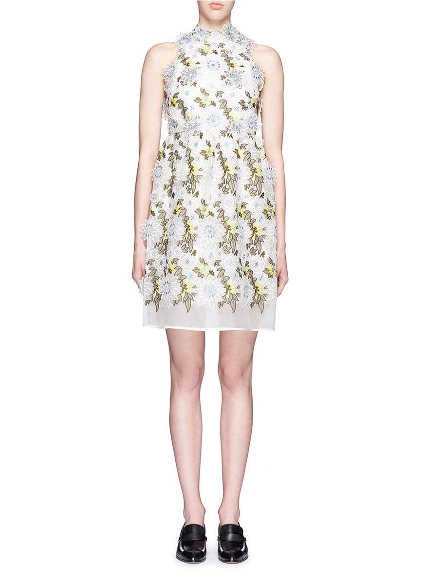 16c773d5f20 ERDEM  Dina  3D Floral Embroidery Silk Organza Dress.  erdem  cloth  dress