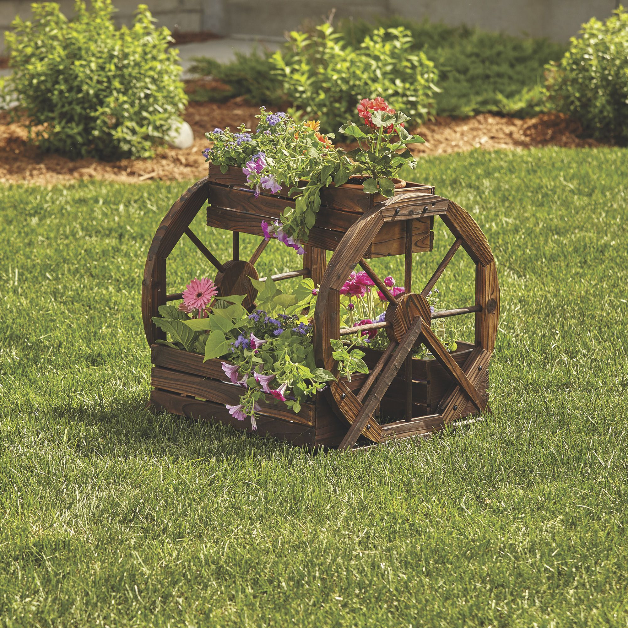 Char Log 3 Tiered Wagon Wheel Planter Www Kotulas Com Free