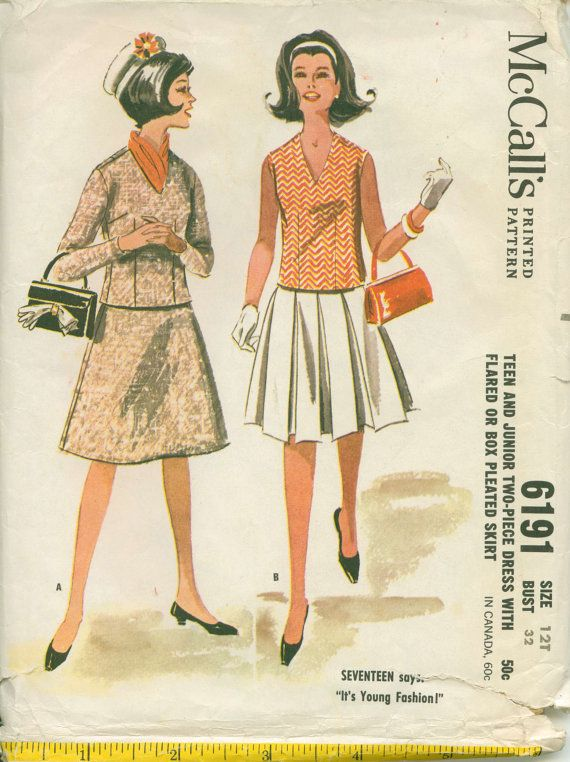 Mad Men Era Sewing Pattern Twopiece Dress By Shellmakeyouflip 8 00 Retro Sewing Patterns Dress Sewing Patterns Womens Clothing Patterns