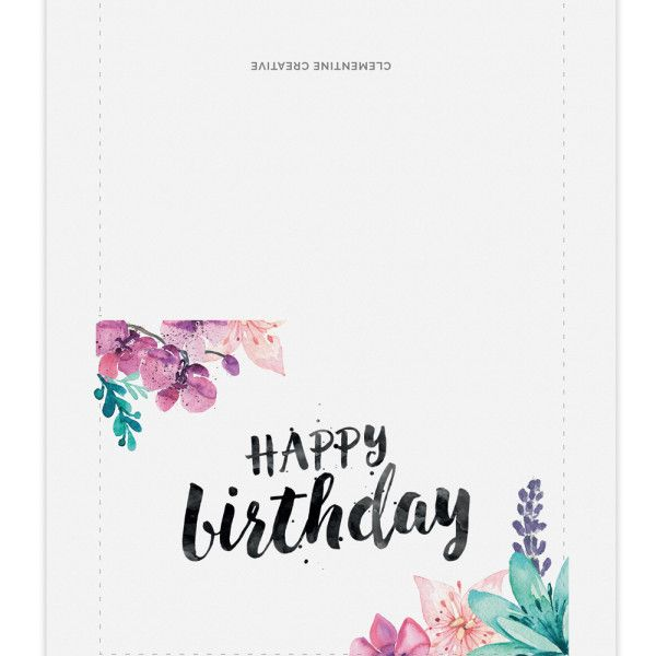 Printable Watercolour Floral Birthday Card Layout
