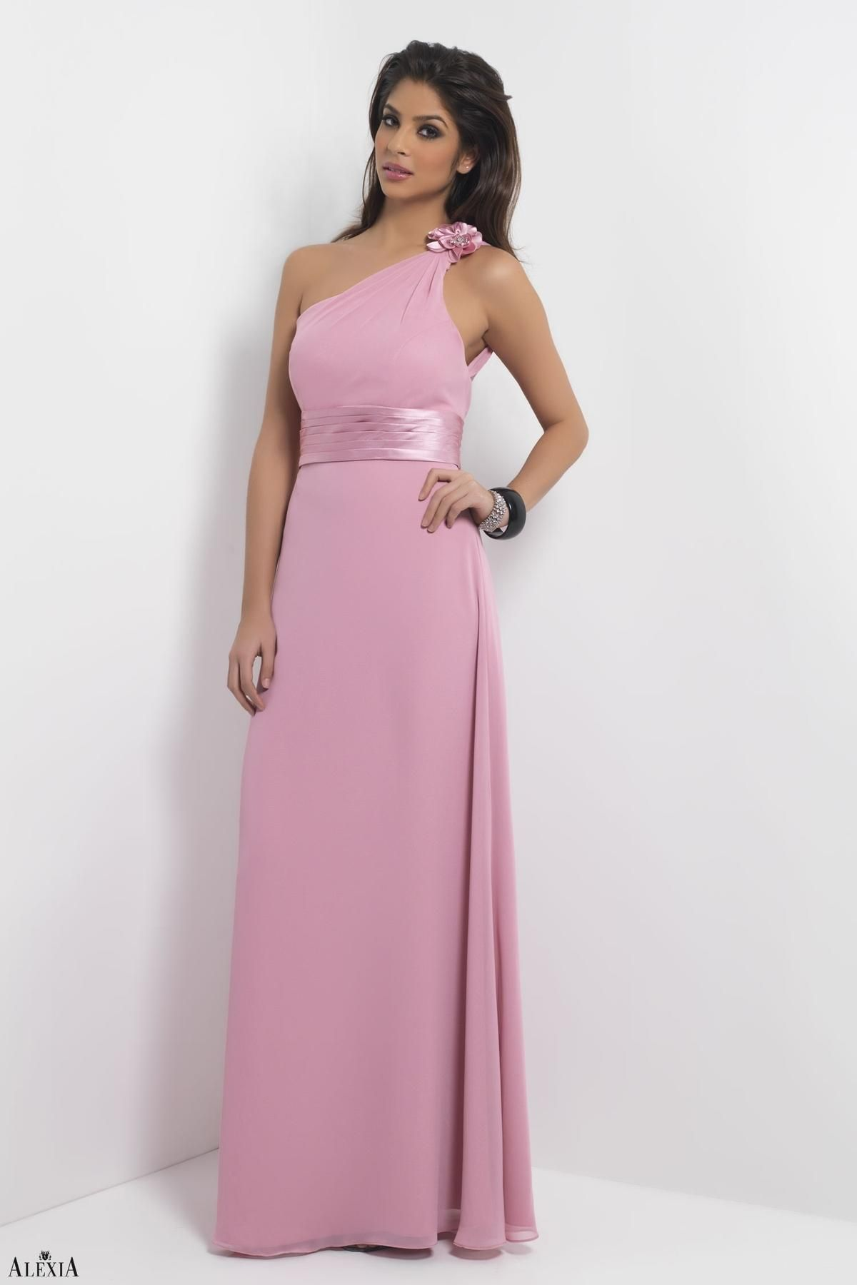 Dusty Rose bella chiffon, floor length dress with rosette detailed ...