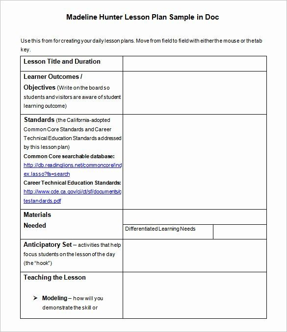 25 Madeline Hunter Lesson Plan Template In 2020