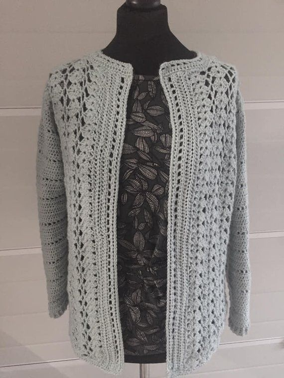 Women/'s Crochet Knitted Plus Size Bolero Button Cardigan Crop Top Shrug LONG SLV