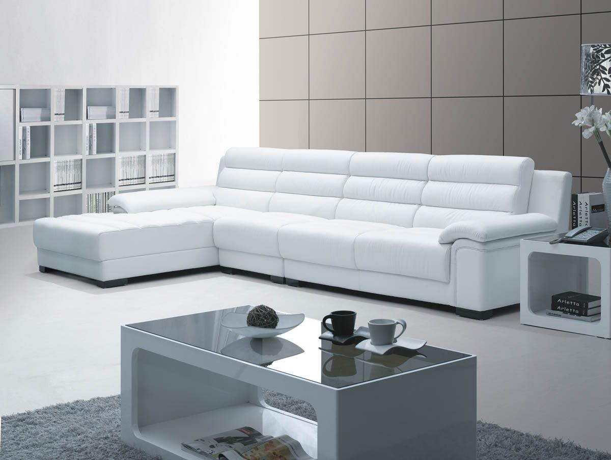 Furniture Best Beautiful Furniture Decorating With Stunning White Leather L Shaped Sofa And Bea Modern White Leather Sofa Modern Sofa Contemporary Leather Sofa