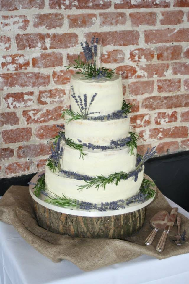 Naked Wedding Cake With Dried Lavender And Fresh Rosemary