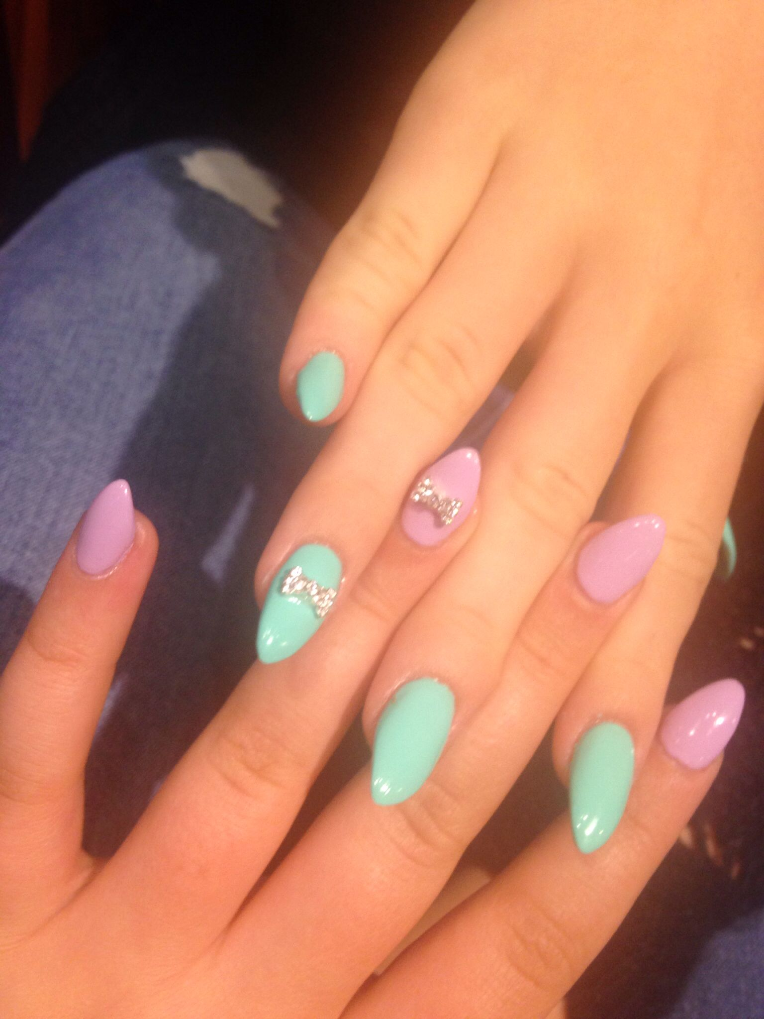 Almond Acrylics, Pastel Bow Blue Pale Summer Nails