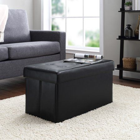 Pleasant Mainstays Collapsible Storage Ottoman Quilted Black Faux Beatyapartments Chair Design Images Beatyapartmentscom