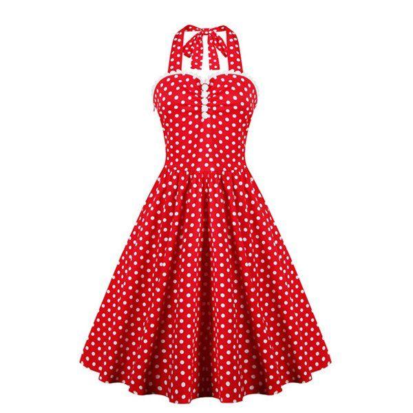 32be040a7eb  21.10 Retro Style Ruffled Polka Dot Halter Dress For Women
