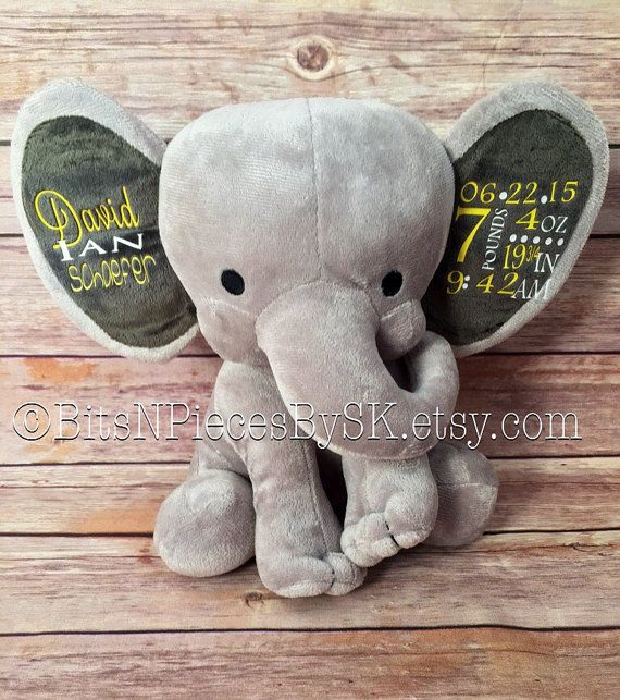 Personalized stuffed elephant birth by bitsnpiecesbysk on etsy personalized stuffed elephant birth by bitsnpiecesbysk on etsy negle Gallery