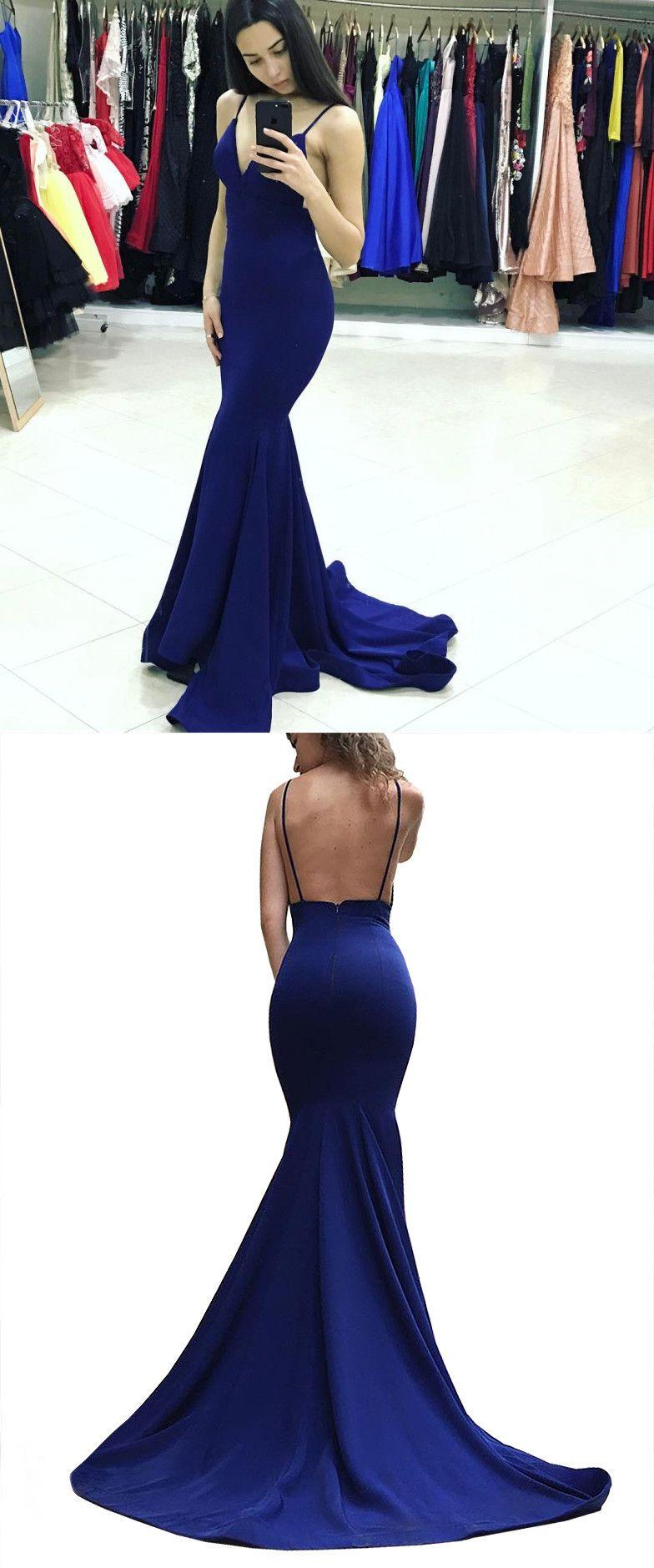 Elegant prom dress royal blue long prom dress straps mermaid