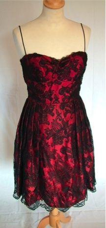 Vintage 50s red black lace party dress, S | eBay