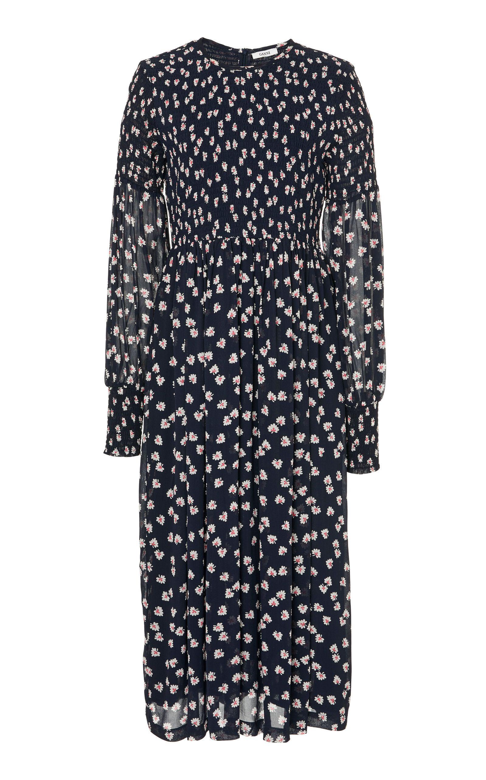 a3b204a3c177 Rometty Smocked Floral-Print Georgette Midi Dress