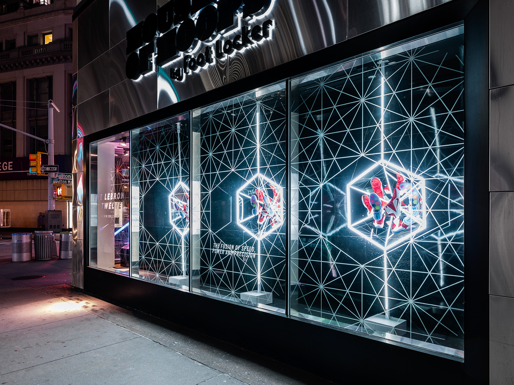 Lebron 12 hoh fulton nike pinterest for Window design visual merchandising