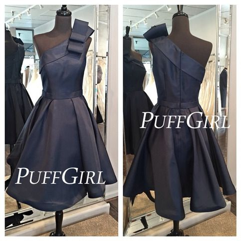 Taffeta Navy Blue One Shoulder Short Party Dress #navyblueshortdress