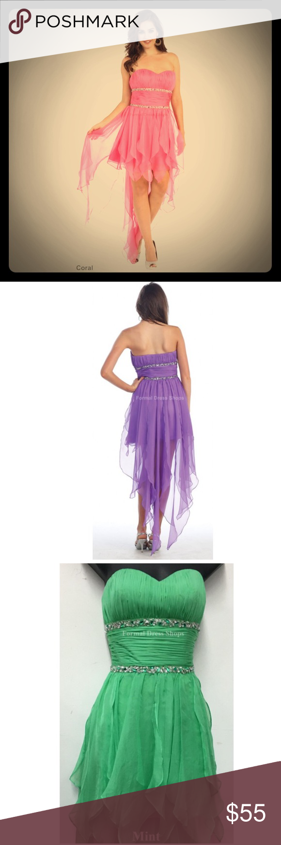 Cute fairy high low dress A great high low dress for semi formal party. Can be worn as a costume for Halloween as a fairy or tinkerbell (mint color). Mayqueen 886. Comes in 7 colors: coral, violet, royal blue, mint, black, red, and yellow. Comes in sizes 4-16. Let me know which color you're interested in so I can make sure your size is available. Mayqueen Dresses High Low