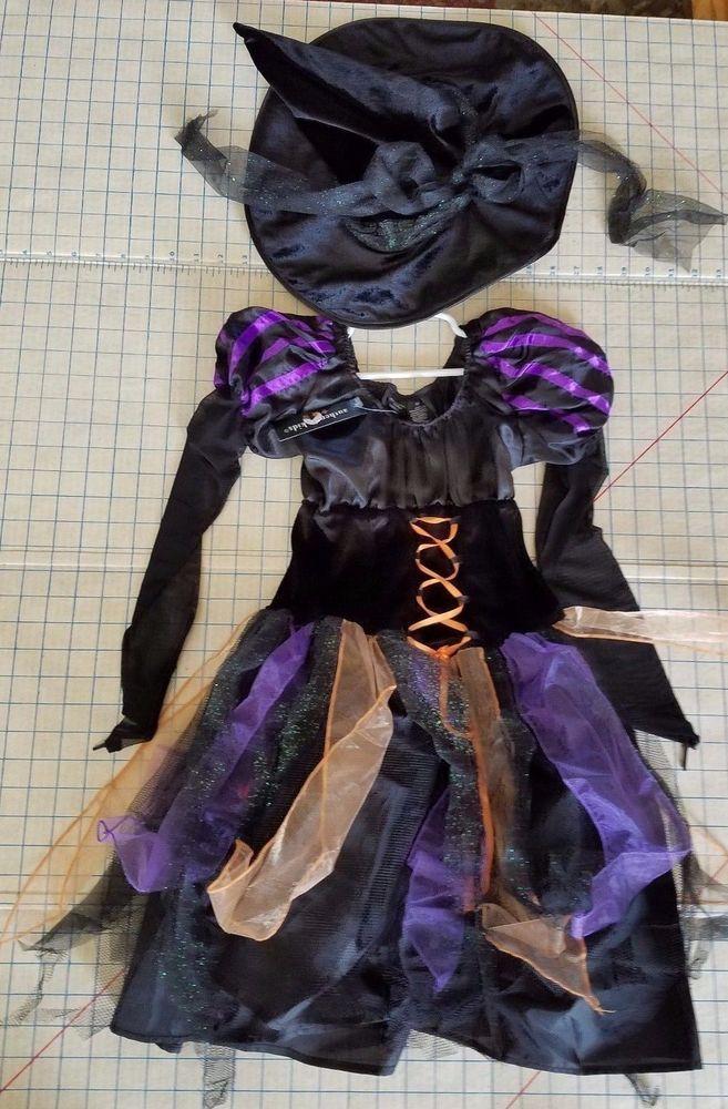 NWT Wicked Witch Halloween Costume Fancy Dress u0026 Hat Authentic kids Girls 14 #Authentickids # & NWT Wicked Witch Halloween Costume Fancy Dress u0026 Hat Authentic kids ...