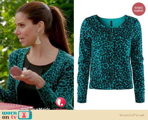 Carmen's teal green leopard print cardigan on Devious Maids ...