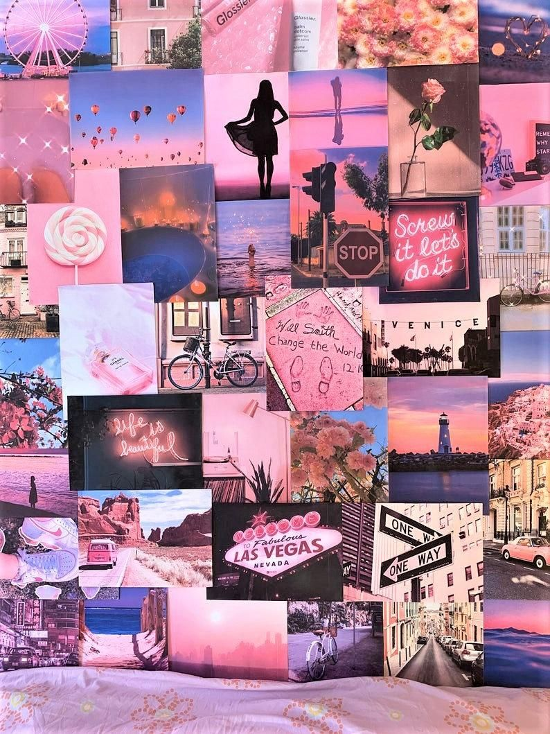 Aesthetic Pretty Retro Wall Collage Kit Pink Vsco Vintage