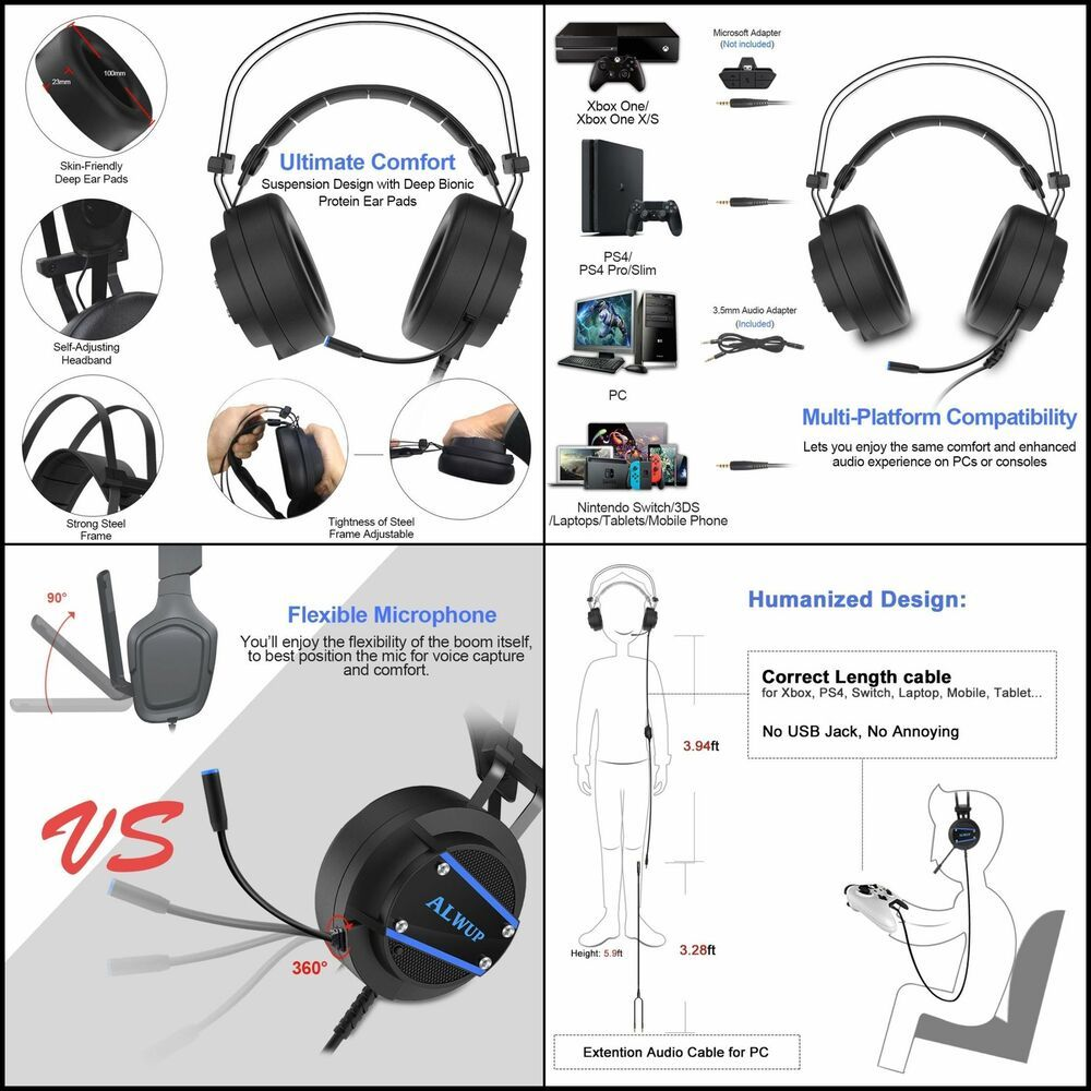 Gaming Headset Fortnite Best Rated PS 4 Xbox One Headphones