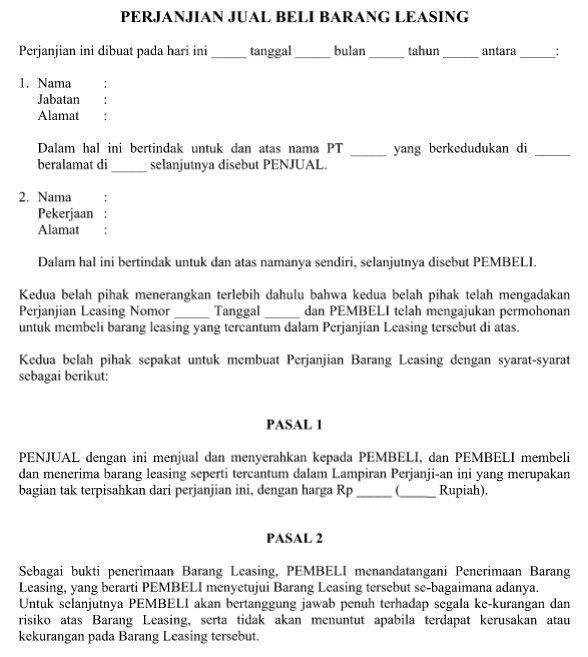 Download Contoh Surat Perjanjian Jual Beli Barang Leasing File Word Tanggal Nama Surat