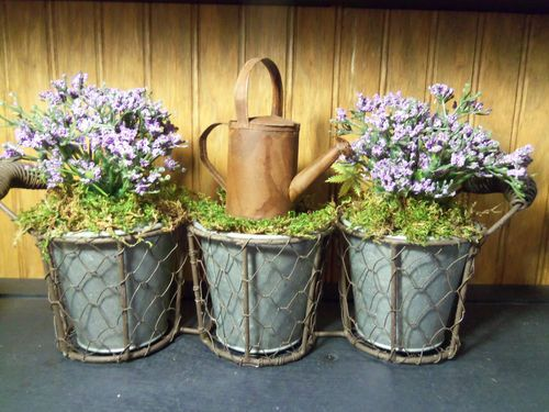 Rustic Primitive Purple Flower Arrangement w Rusty Watering Can