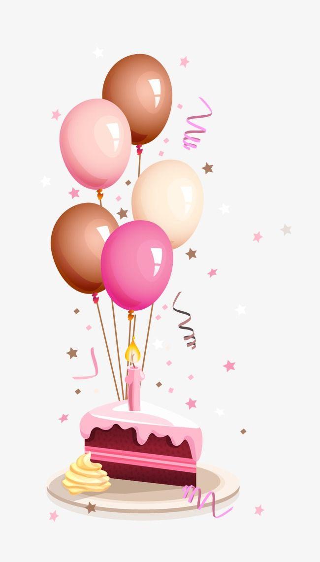 Colorful Balloons And Birthday Cake Cartoon Birthday Clipart