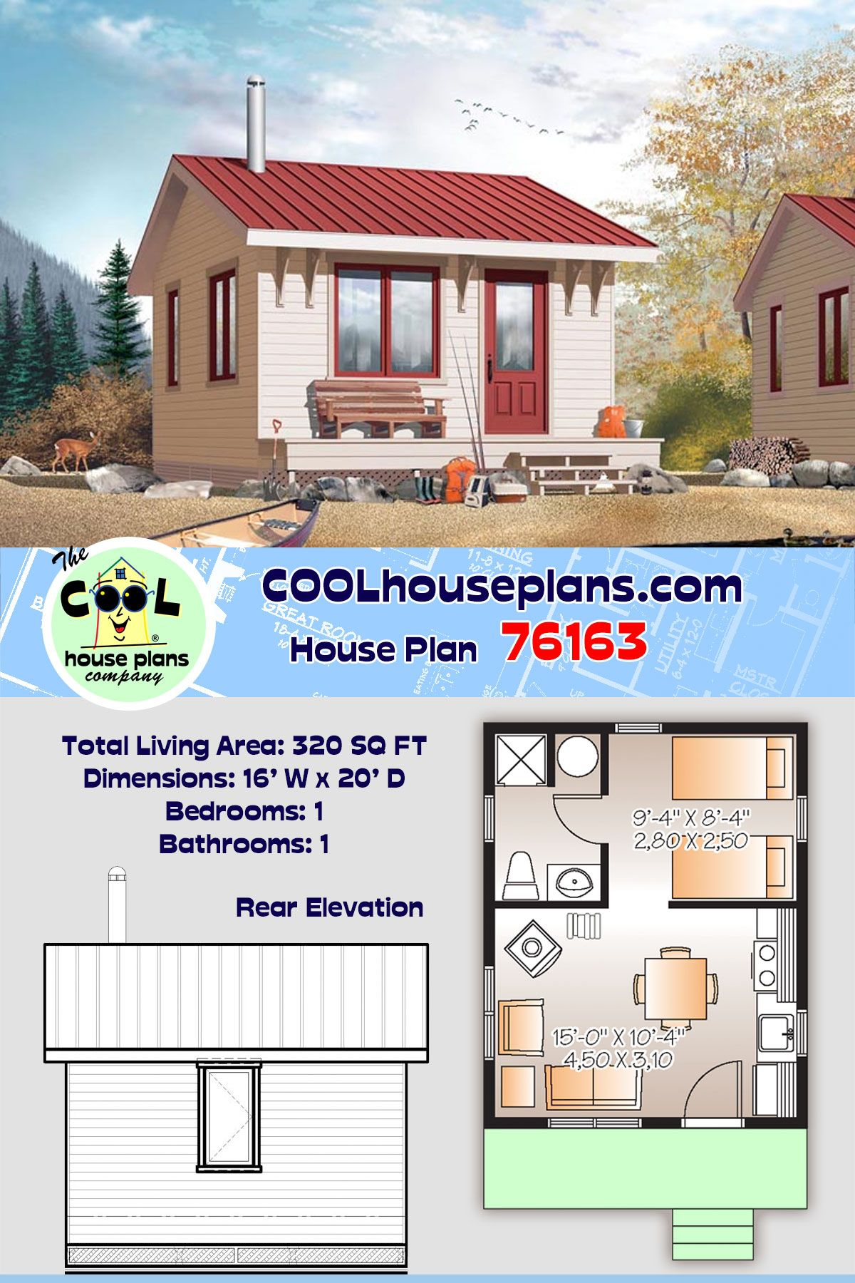 Cabin Style House Plan 76163 With 1 Bed 1 Bath House Plans Small Cabin Plans Tiny House Floor Plans