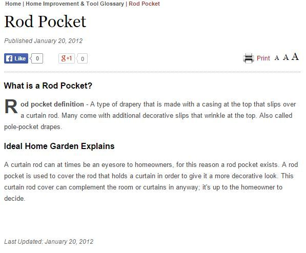 Definition Of Rod Pocket From Http Www Idealhomegarden Com