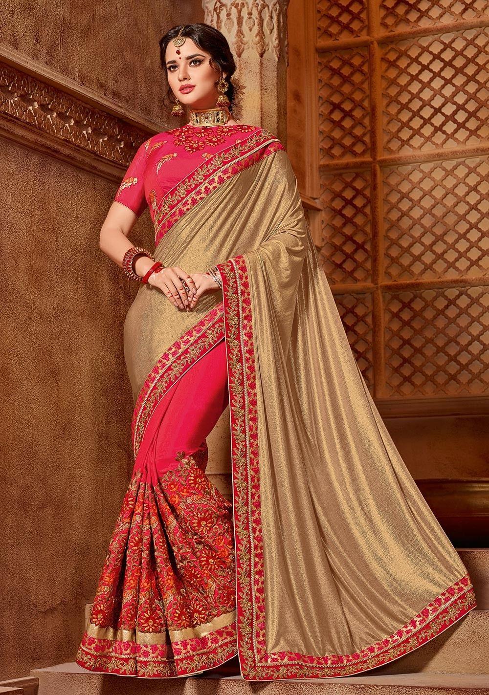 b9384121ba04a0 Gold Saree, Lycra, Two-tone Silk Saree, ₹4,710.00. Buy latest Saree with  custom stitching and worldwide shipping.