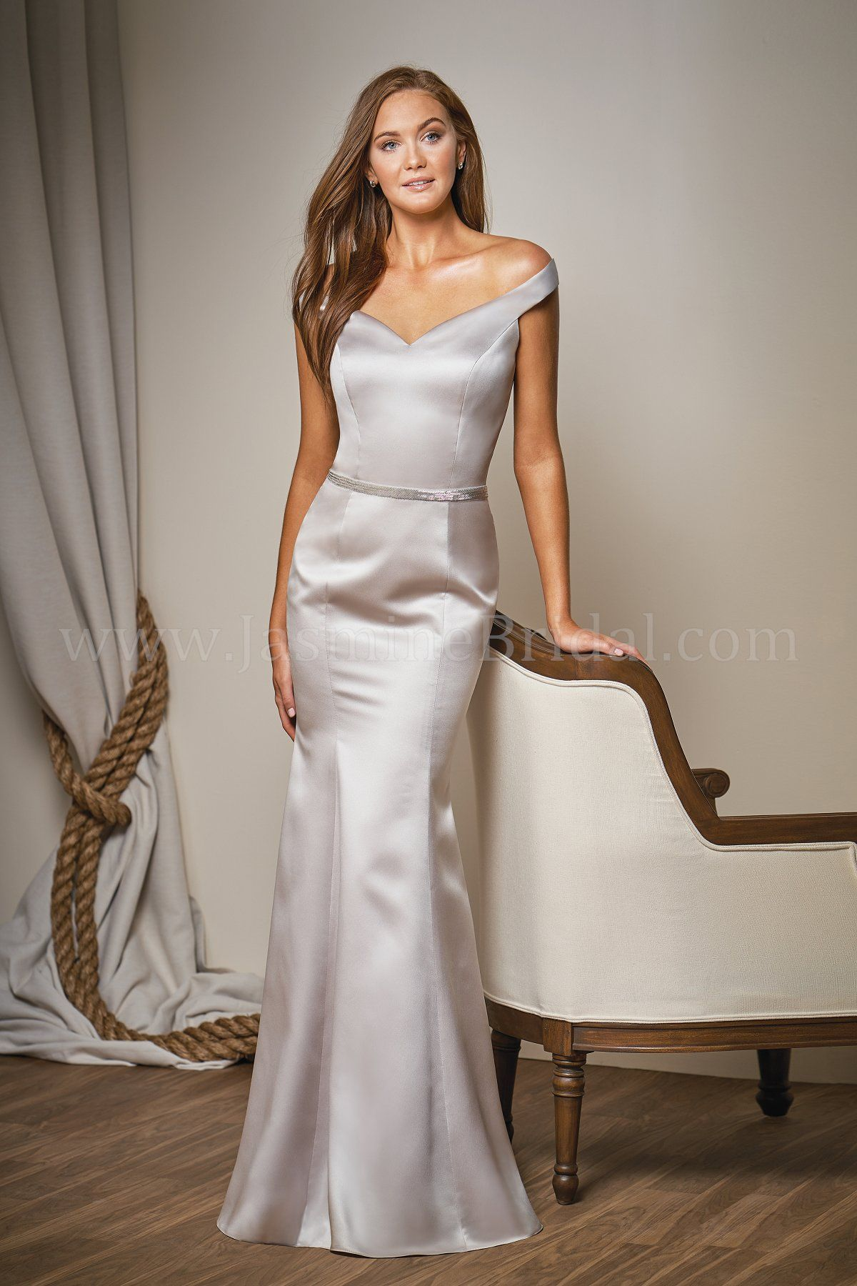 Jasmine Bridal Belsoie Style L204011 In Grecian Ivory Marquis Satin Fit Flare Bridesmaid Dress Off The Shoulder Neckline Beaded Belt