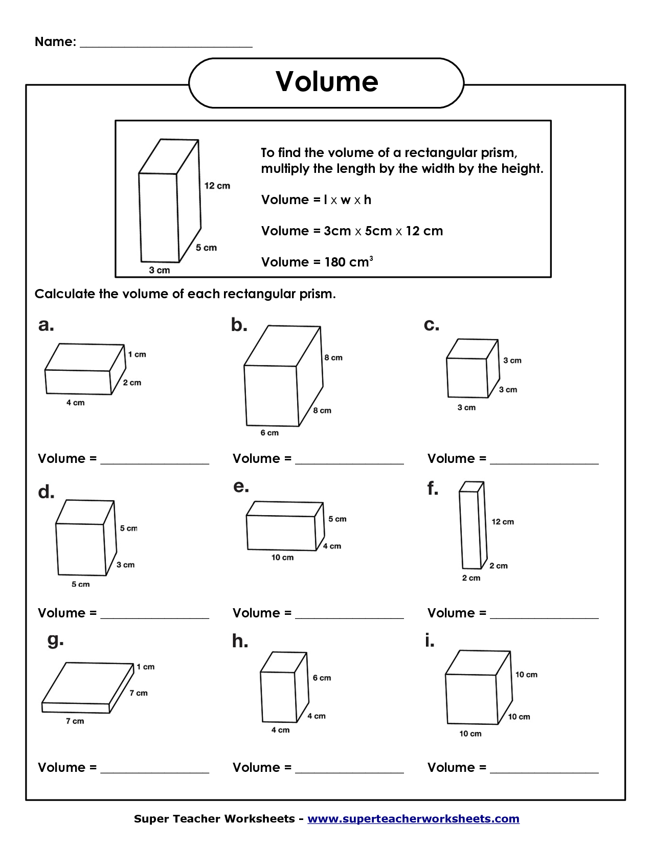 Volume Task Worksheet