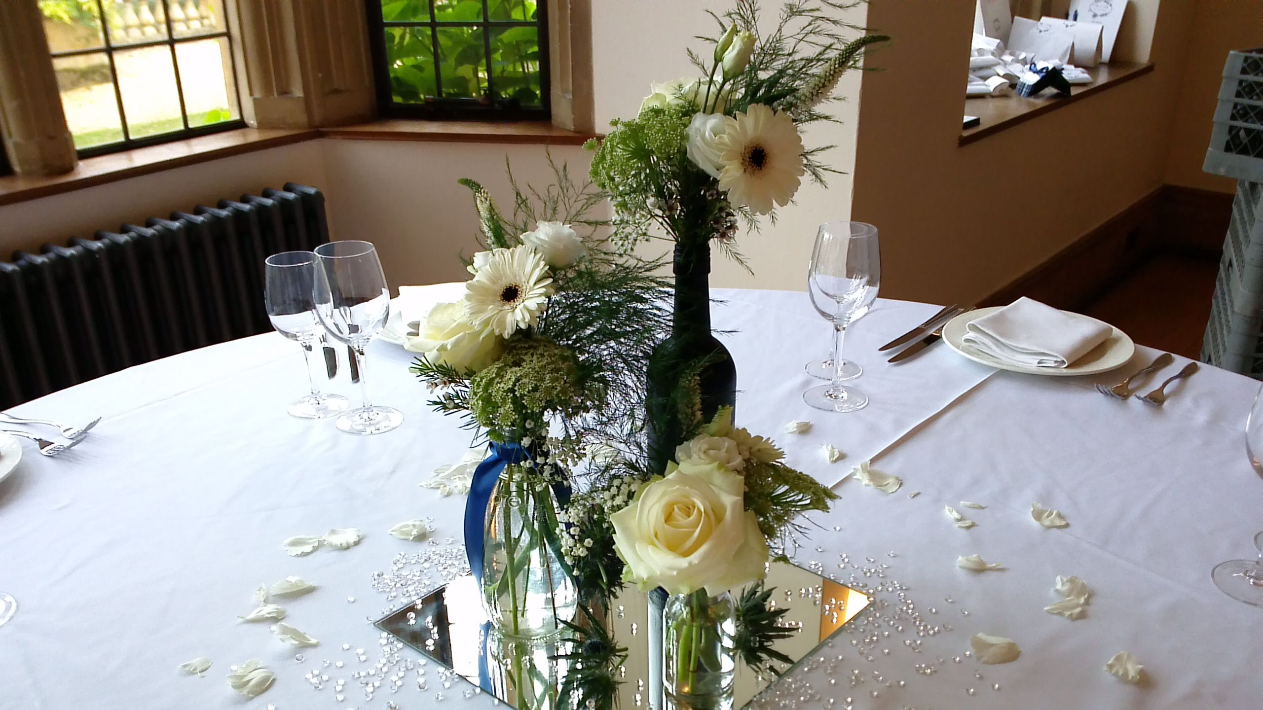 Attractive Stunning Table Centres Of Mixed Vases On Square Mirrors From Roziu0027s Posies