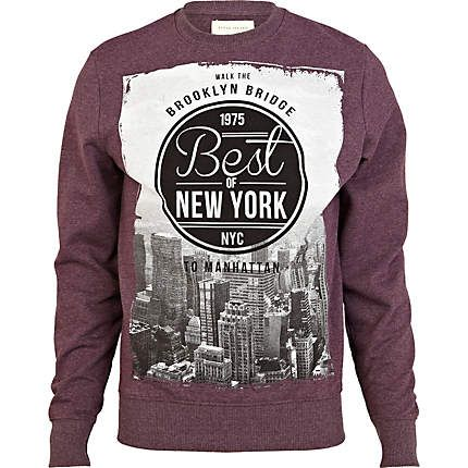 Red best of New York print sweatshirt - sweatshirts - hoodies ...