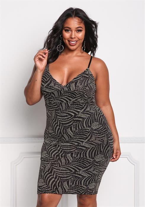 Plus Size Sparkle Plunge Bodycon Dress Debshops Holi Bae