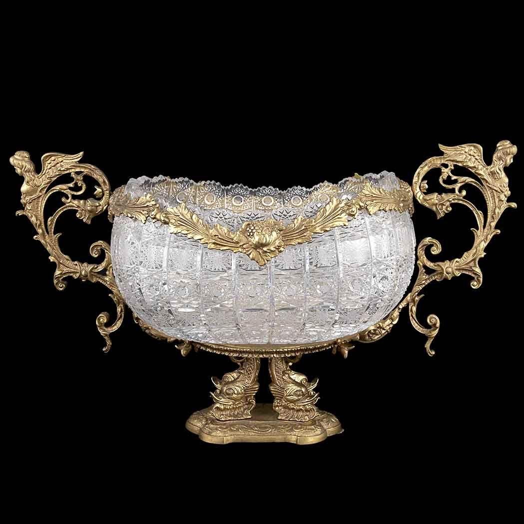 Louis XVI Style Gilt-Bronze Mounted Cut Glass Center Bowl
