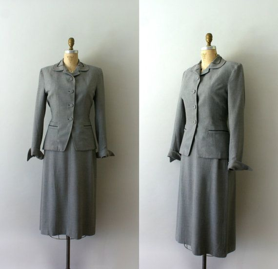 vintage 1950s suit  50s Light Grey Wool Skirt by Sweetbeefinds
