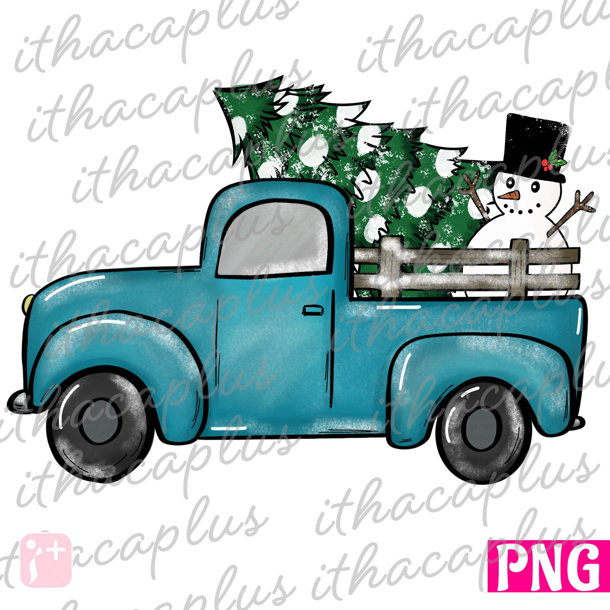 Christmas Png Sublimation Christmas Tree Blue Truck Etsy In 2020 Vintage Truck Christmas Christmas Tree Truck Christmas Truck