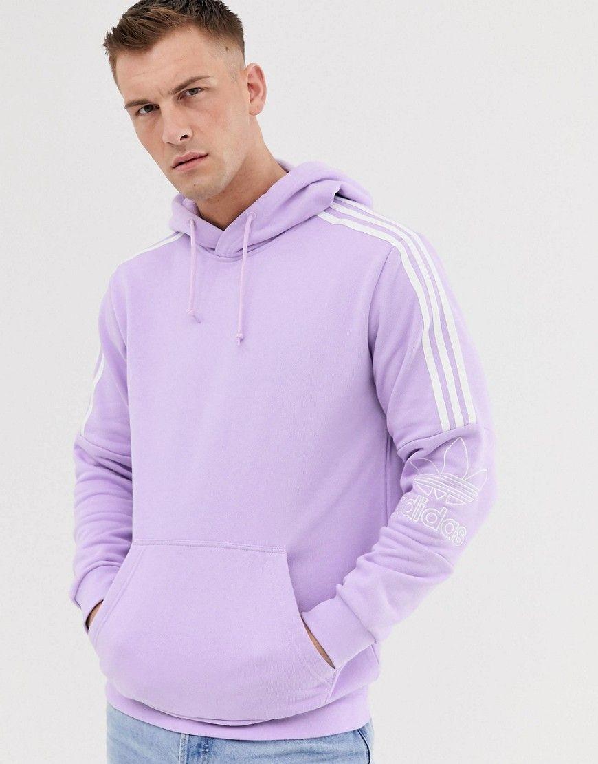 salir adolescente enchufe  Hoodie With Stripes In Purple - Purple | Adidas hoodie, Hoodies men